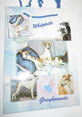 Whippets Greyhounds Dogs Gift Bag Present Tag Handles Medium Blue New Hearts