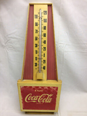Vtg 70s Coca Cola Advertising Thermometer Coke Soda Pop Ad Man Cave Game Room