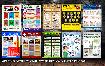 Food Allergy, Food Hygiene, Chopping board, Hand Washing, kitchen posters