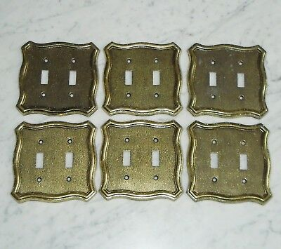 6 American Tack & Howe #N70TT Brass Tone Metal Double Light Switch Plate Covers
