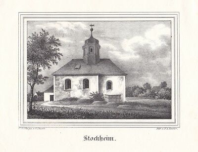 BAD LAUSICK-STOCKHEIM. Ansicht der Kirche in Stockheim. Lithographie von F.A. Re