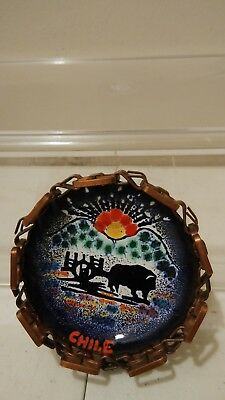 Vintage Chile Ashtray trinket dish Souvenir Small Copper Hand Painted