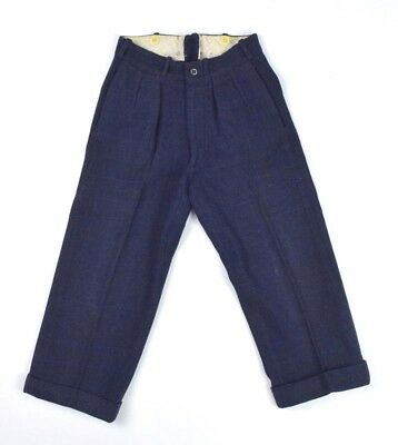 Antique Vtg 1920s Blue Wool Pleated Cuffed Slacks Pants Boys 23 x 19 Bone Button