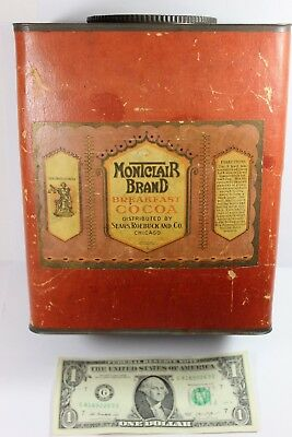 MONTCLAIR Brand Breakfast Cocoa 5 LB Pound Tin Can SEARS ROEBUCK Paper Label