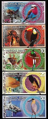 Set, Aldabra Island, 3-5-10-25-50 Dollars, 2017 Fantasy, Colorful Birds
