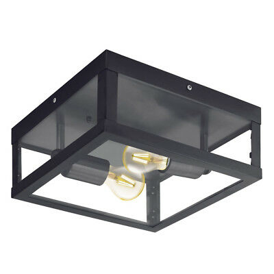 NEW Eglo Alamonte 1 Black Metal Frame Outdoor Undercover Ceiling Light - 94832