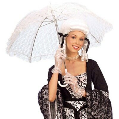 83cm White Ladies Lace Parasol - Umbrella Baroque Costume Accessoire