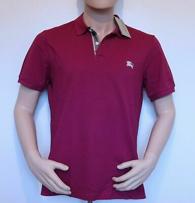Burberry Brit Men's Check Placket Polo Shirt Bright Navy Blue & Military Red