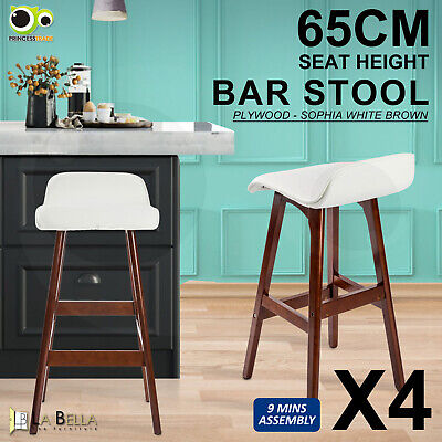 4 x Oak Wood Bar Stool Wooden Barstool Dining Chair Kitchen Cafe SOPHIA WHITE