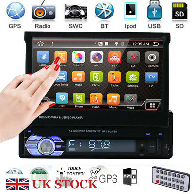 "7"" Touch Screen Single Din 1 DIN Car Stereo Flip out  Bluetooth&Camera"