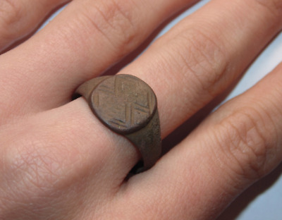 Ancient Very Old Antique Brass Copper Brass Signet Roman Ring US Size 8.75
