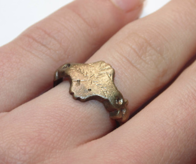 Ancient Very Old Antique Brass Copper Brass Signet Roman Ring US Size 6