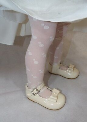 Girls Heart Patterned Tights with Toes, Cream, Ages 1-11