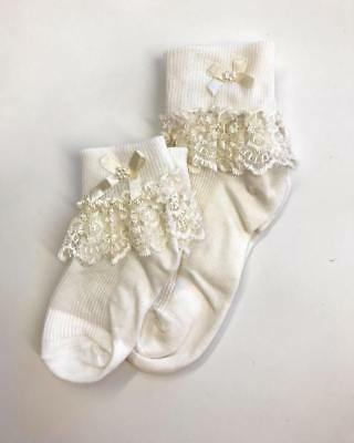 Girls Frill Socks Ankle Socks, Cream, Flower Girl, Wedding Occasion Wear