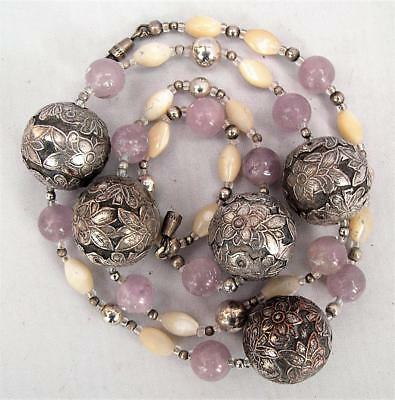 Chinese silver plated flower bead necklace amethyst and MOP beads vintage