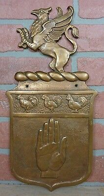 Antique Bronze GRIFFIN ROOSTERS HAND Decorative Art Plaque Store Ad Sign Ornate
