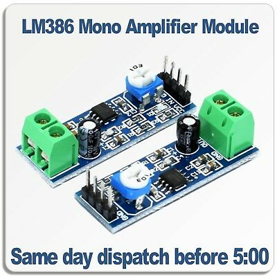LM386 Mono Audio Amplifier Module. 5V -12V DC  200 Times Adjustable output