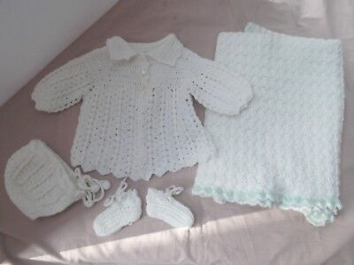 vtg baby lot 4 newborn hand knit white blanket sweater booties hat set grn trim