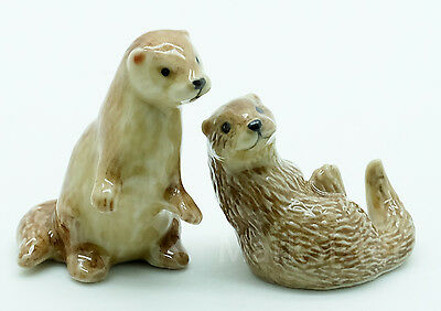 Figurine Animal Ceramic Statue 2 Otter - CFX006