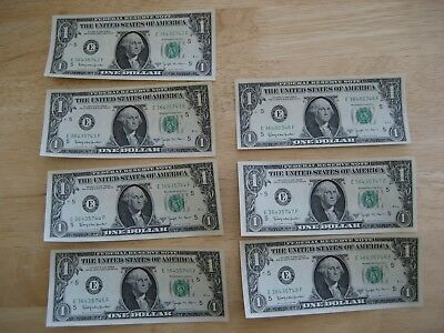 7 Consecutive 1963 B  $1 , 1 DOLLAR US FEDERAL RESERVE GREEN SEAL NOTES UNC