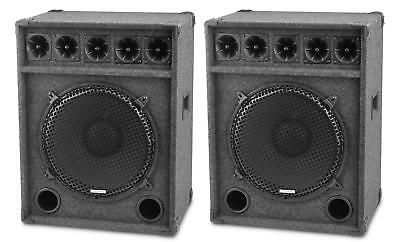 "Paar 15"" (38cm) DJ PA Lautsprecher Club Bass Subwoofer Party Box Set 1200 Watt"