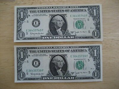 2 Consecutive 1963 B  $1 , 1 DOLLAR US FEDERAL RESERVE GREEN SEAL NOTES UNC