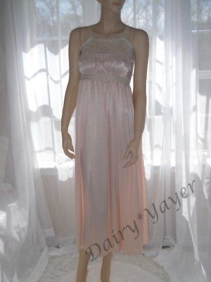 XSmall 1930s vintage Bias cut Long nightgown Chantilly lace Pink satin #415