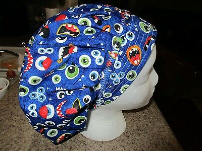 Eyes That Glow In The Dark  Bouffant Nurses Scrub Hat, Chemo, Surgery Tech
