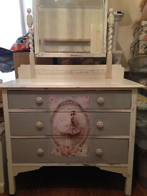 vintage dressing table drawers with mirror and vintage ballerina