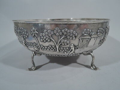 Export Bowl - Large Antique Raj Colonial Exotic w/ Cobra Snakes - Indian Silver