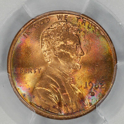 1982 D Lincoln Memorial Cent Pcgs Ms 65 Rd Zinc Small Date Rainbow Toning (143)