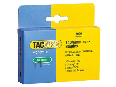Tacwise - 140 Heavy-Duty Staples 6mm (Type T50, G) Pack 2000 - TAC0345