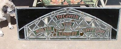 Lg, Antique Leaded Glass Stained Glass Church Window Psalms 91:11 PICK UP ONLY