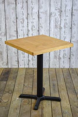 Cafe Bar Coffee Shop Tables Metal Pedestal Base Rustic Vintage Solid Pine Top
