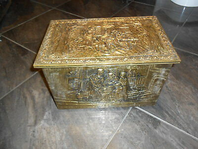 Vintage Brass Embossed Fireside Coal Box, Old english scenes.