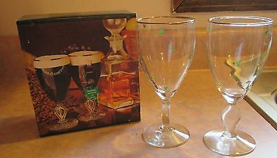 IRISH COFFEE (2) Gold Rimmed Goblets With Clovers