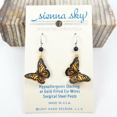 Sienna Sky Earrings 925 Sterling Silver Hook 3D Orange Monarch Butterfly 1433