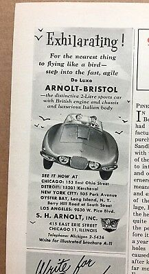1954 Arnolt-Bristol Ad w/Dealers Listed ~ Chicago Detroit NYC Los Angeles &