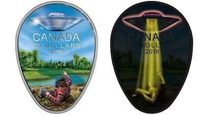 2018 CANADA $20 UFO Glow-in-the-Dark FALCON LAKE INCIDENT 1oz Proof Silver Coin.