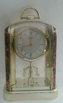 Vintage Citizen Mantel Shelf Clock Faux Tortoise Shell Pendulum Japan Works