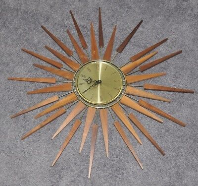 Vintage Seth Thomas Starflower Atomic Starburst Mid Century Modern Wall  Clock
