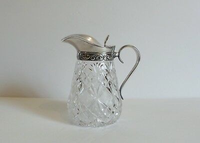 Cut Glass Syrup Pitcher, Silver Plate Embossed Top, c. 1900 (#5)