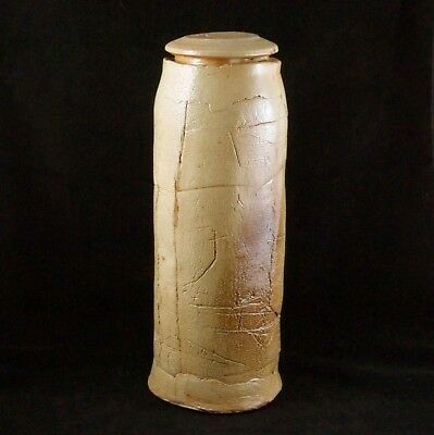 Reproduction Replica Ancient Lidded Scroll Jar Beige Ceramic Stoneware Decor 16""