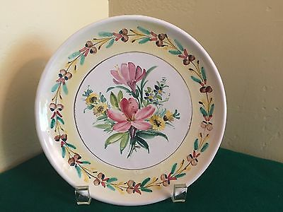 """1940s Danish Studio Pottery ILLONA DENMARK FLOWER PLATE Signed Collectible 7.5"""""""
