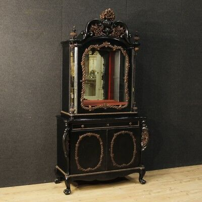 Cupboard wooden showcase vitrine display cabinet dutch mirrors antique style 900