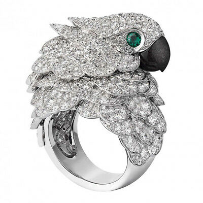 8.6CT White Topaz&Emerald Parrot 925 Silver Wedding Engagement Ring Size 6-10