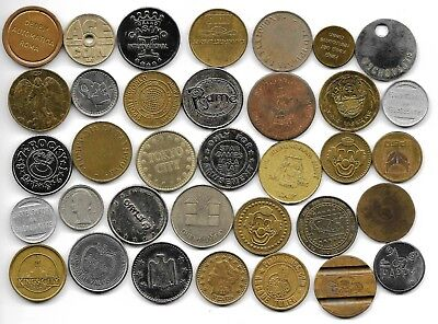 World lot of 35 different jetones tokens coins L1