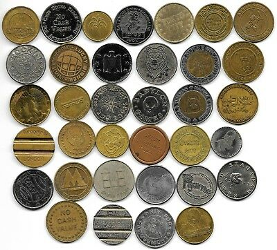 World lot of 35 different jetones tokens coins L3