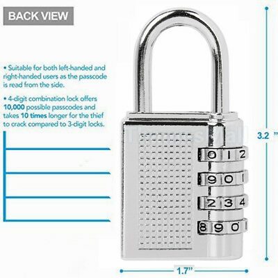 4 Digits  Padlock Password Code Password Lock Brass Combination Lock Sliver