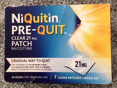 🌺 NiQuitin Pre-Quit clear 21mg  patch (1 weeks supply)  exp 09/2018 Bnip🌺